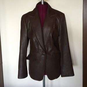 J. Crew Brown Leather Blazer Jacket Coat 6