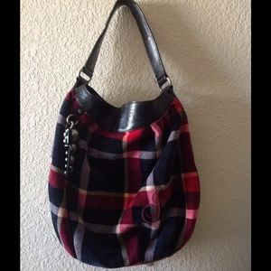 Juicy Couture plaid velour hobo bag