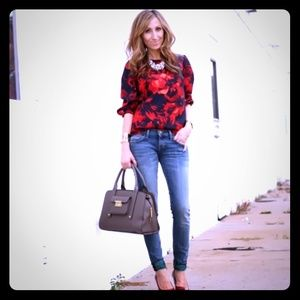 Navy & Red Blouse