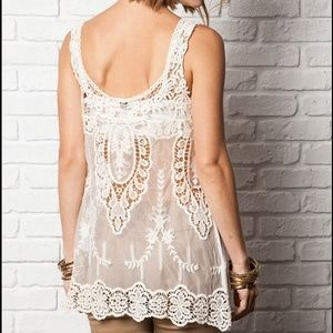 0fcd396be23a01 Tops - ⚡️LAST ONE ⚡️Boho Sheer Lace Detail Tank