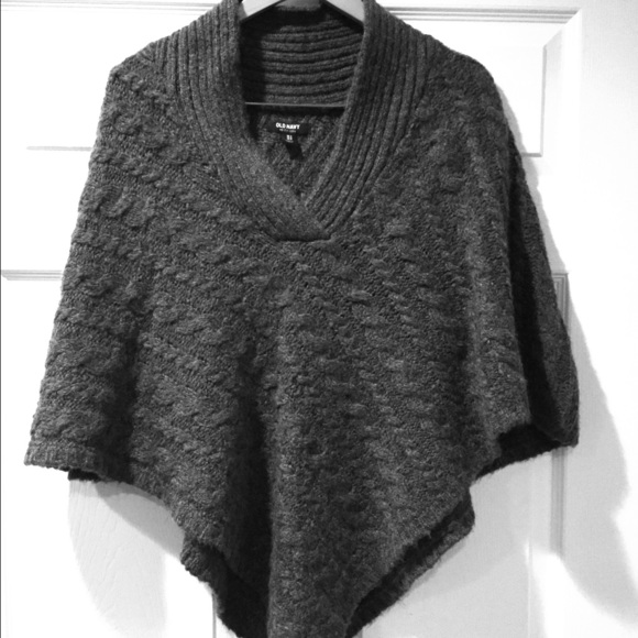Old Navy Sweaters Dark Heather Grey Cable Knit Poncho Poshmark