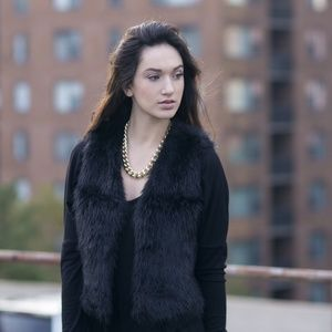 Black Vegan Faux Fur Vest