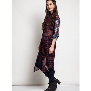 """Plaid Back Look"" Long Tunic Duster Top"