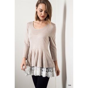 """Venetian Romance"" Lace Hem Long Sleeve Top"