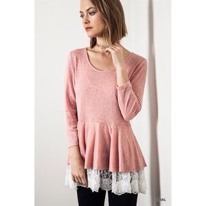 "Bare Anthology Tops - ""Venetian Romance"" Lace Hem Long Sleeve Top"