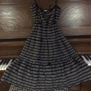 Cute dress w/Black and gray stripes and ruffles