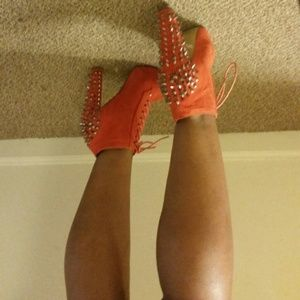 traffic Boots - Orange boot spike heel