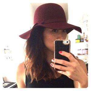 Red wool felt slouch hat