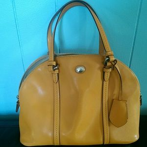 Gold Cora leather dome satchel