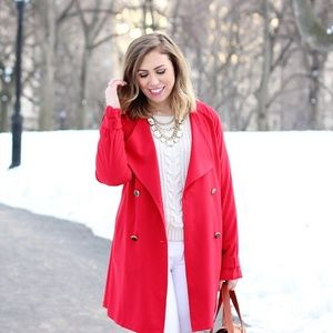 Outerwear - Lightweight Red Trench Coat