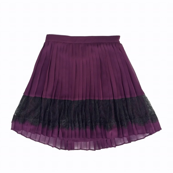 topshop 2xhp topshop pleated skirt black lace trim