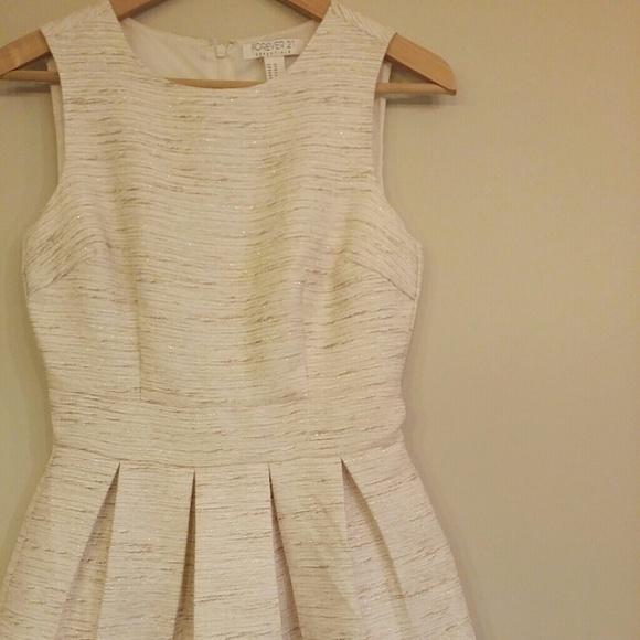 F21 Pleated Metallic Tweed Dress