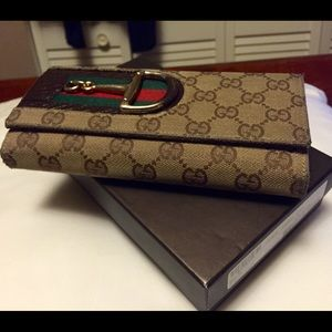 Gucci Canvas Hasler Continental Wallet
