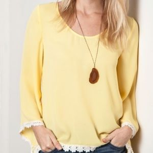 Tops - Yellow Daisy high low top