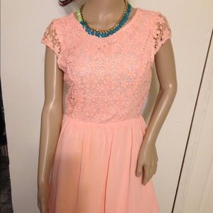 INA  Pink Floral Lace Pleated Sheath Skater Dress