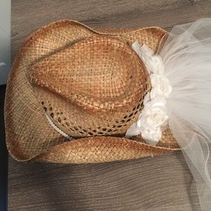 a40e8b3c8bf Etsy Accessories - Bachelorette Cowgirl Hat   Veil