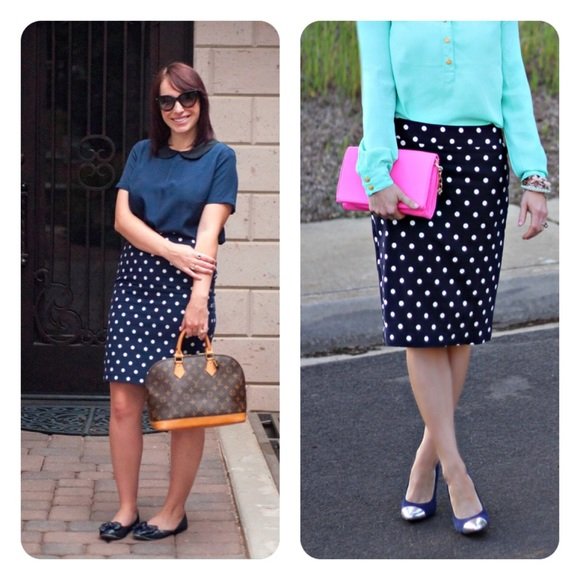 2aa556d60 J. Crew Skirts | J Crew Nwt Polka Dot Pencil Skirt Navy | Poshmark
