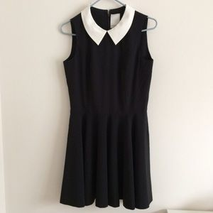 Peter Pan collar black white dress