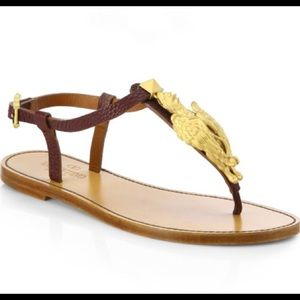 Valentino Brown Ethno Elements Leather Sandals 10