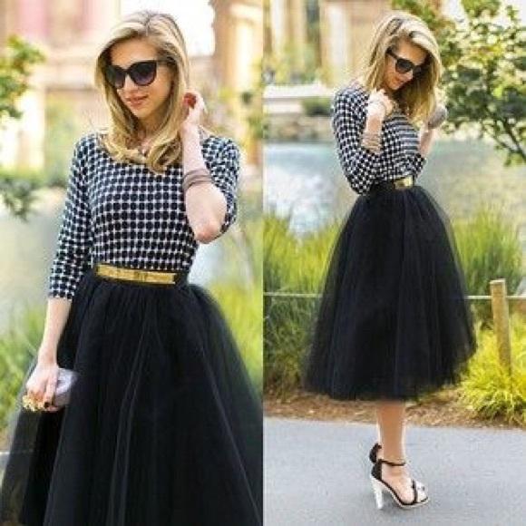 ❤️1 HR SALE ❤️ Tutu tulle full skirt black white