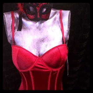 Other - 💋Bustier & Mask💋Red Hot Valentines satin bustier
