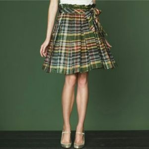 J. Crew Collection pleated silk plaid skirt