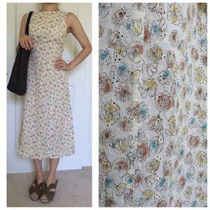 Vintage floral midi dress- XS, waist tie