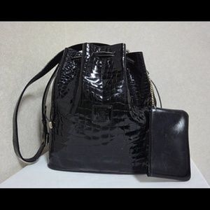 Vintage Celine croc embossed black bucket bag