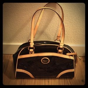 Coach Peyton Patent Leather Embossed Black Satchel