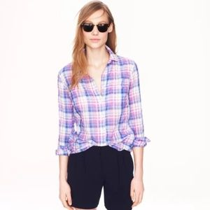 J. Crew Tops - J. Crew crinkle shirt in orchid plaid