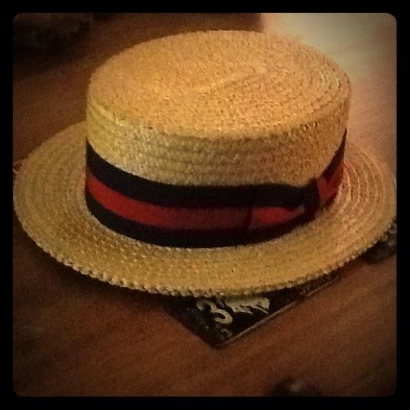 450cc984d0719 Vintage Pointe Rialto Mens 7 3 8 Boaters Straw Hat.  M 54dd755f291a35718d0026f5
