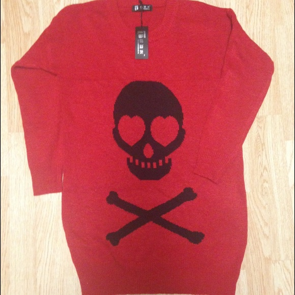 17% off Sweaters - Brand new red skull sweater from Twinkle's ...