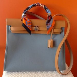 Hermes - ??SOLD ON EBAY?   Hermes herbag zip 31 PM bleu lin ...