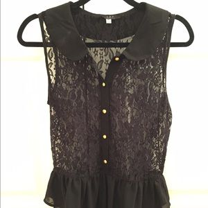 SOY Tops - SOY Black Lace Formal Top with Earrings