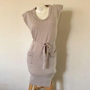 BCBGMaxazria long canvas sleeveless sweater dress