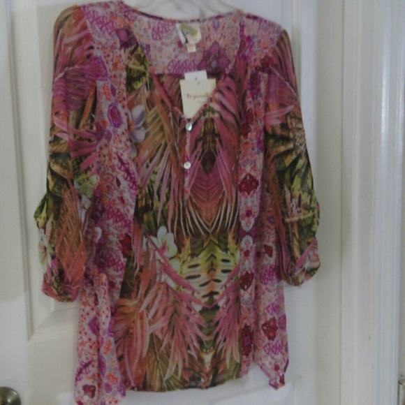 Fig And Flower Tops Floral Sheer Blouse Be Yourself Poshmark