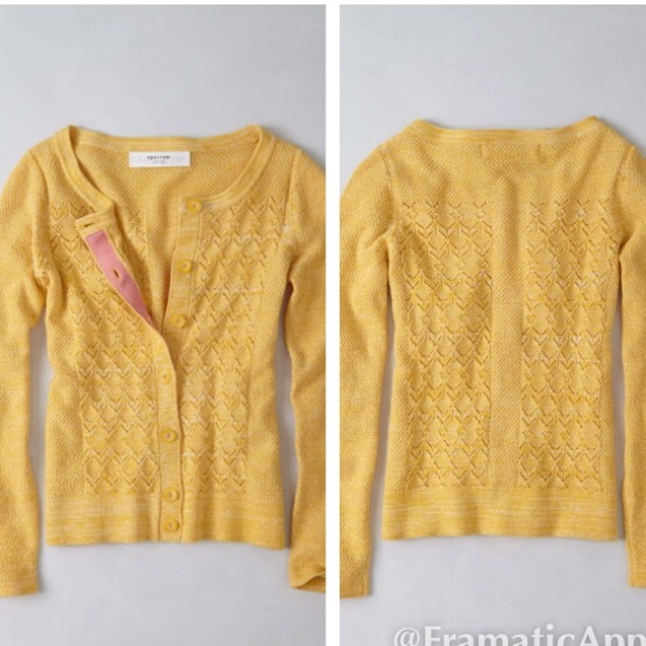 7ed03f27d2 Anthropologie Yellow Pointelle Cardigan