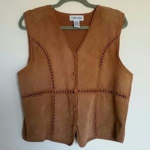 Vintage Leather & Cotton Sweater Vest