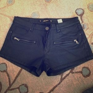 NWOT Zara Black Coated Denim Shorts 8