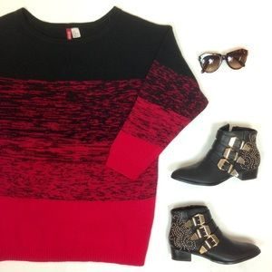 Red & Black Ombre Oversized Tunic Sweater