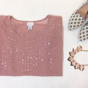 Motherhood Maternity Tops - Sheer Blush Beaded Sequin Maternity Blouse