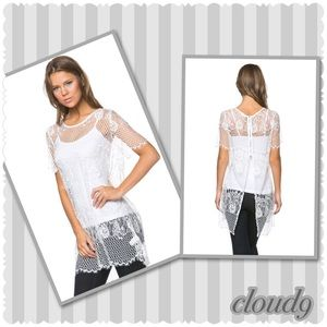 Cloud 9 Tops - 🆕 Gorgeous ~White Lace Top NEW