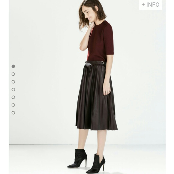 Zara - ZARA Wine Faux Leather Pleated Midi Skirt from ...