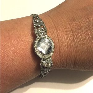 NatureAngels Jewelry - Upcycled Vintage Rhinestone Watch Bracelet Silver