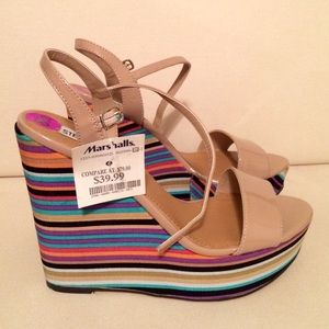 Steve Madden Shoes - Colorful Stripes Steve Madden Nude Wedges!💗💚💙💜