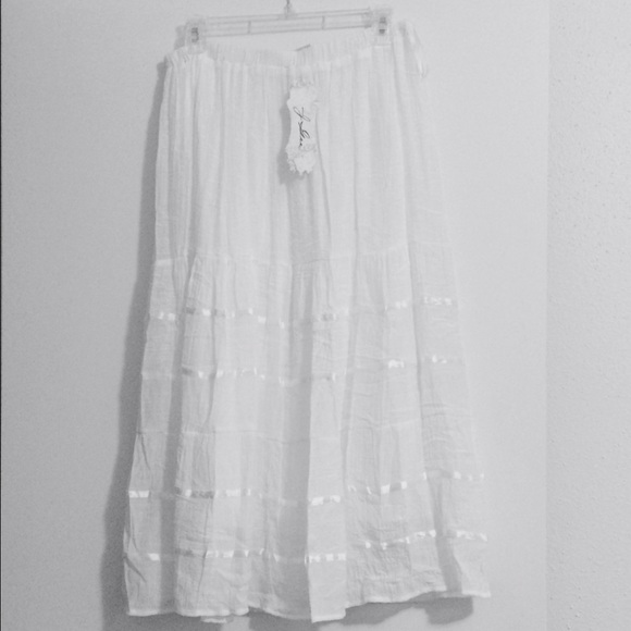 White Long Flowy Skirt