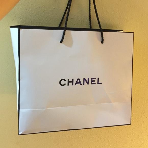 80% off CHANEL Handbags - White Chanel shopping bag tote gift bag ...