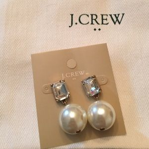 NWT  J. Crew Statement Pearl & Crystal Earrings