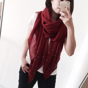 Boutique Accessories - Soft Red Light Knit Skull Studs Scarf