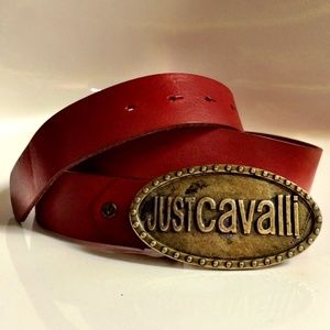 💯 ROBERTO CAVALLI Red Leather Buckle Logo Belt